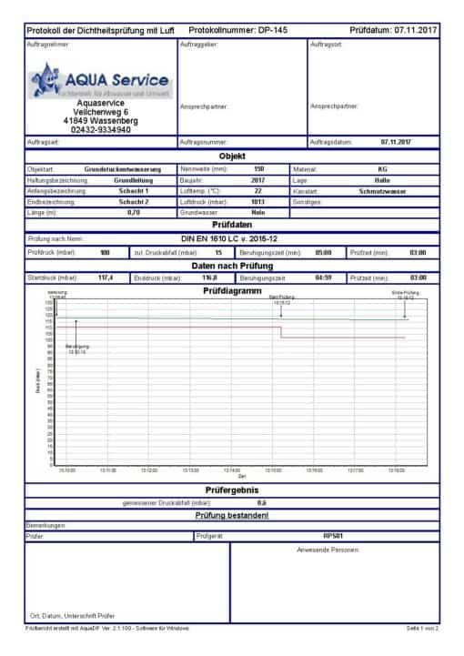 RPS03 Muffenprüfung Unterdruckprüfung Schächte
