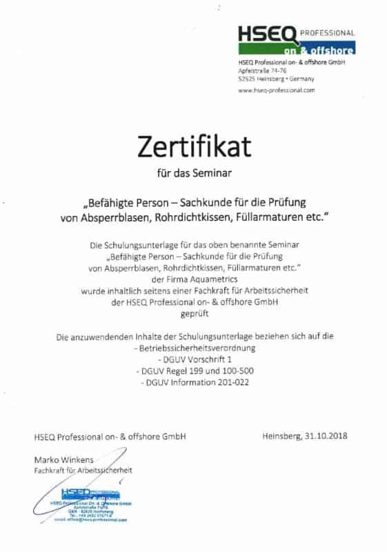 Aquametrics Zertifikat